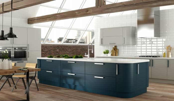 Oak And Midnight Blue Kitchen